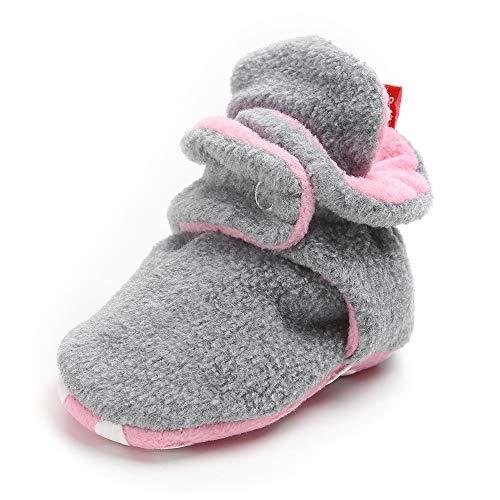 SOFMUO Unisex Baby Cozy Fleece Booties with Non Skid Bottom Newborn Socks Infant Warm Winter Crib Shoes(Light GreyΠnk,6-12 Months)