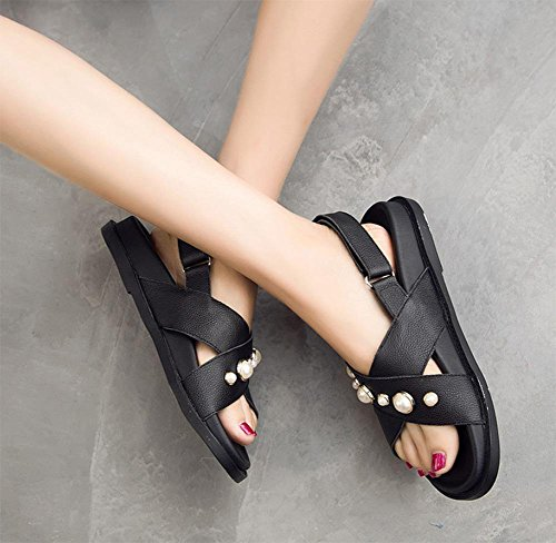 Perle Frauen Sandalen Sommer Sandalen Frauen flache Hausschuhe Frauen black