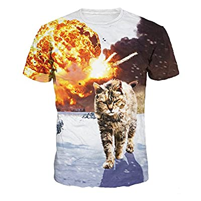 ColorFino Unisex Funny 3D Printing Alien Cat T-Shirt Hipster Clothing