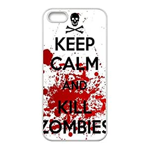 iPhone 5 5s Cell Phone Case White Keep Calm Kill Zombies D2286868