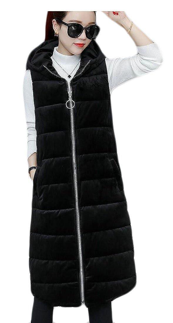 ainr Women's Winter Warm Full Zip Velvet Puffer Hooded Padded Long Coat Vest
