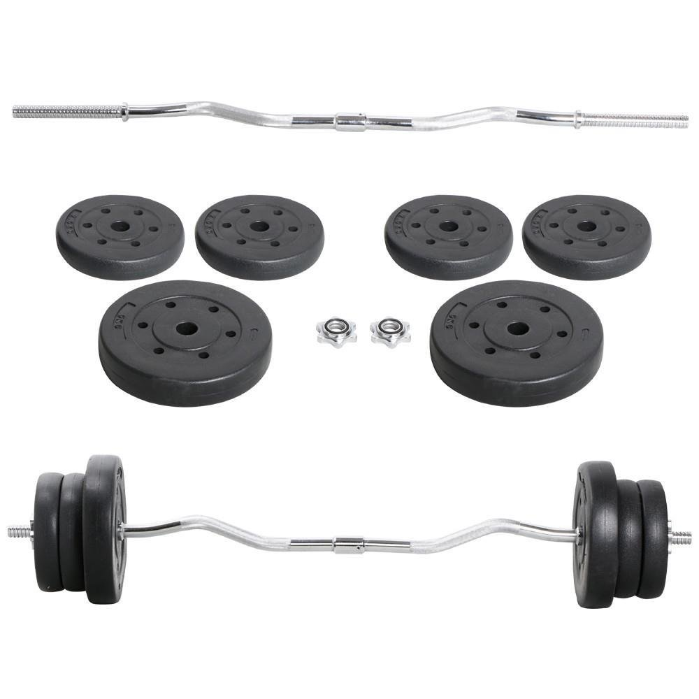 Yaheetech Olympic 55lb Lifting Exercise Barbell Weight Set EZ Curl Bar 1inch W/ 2 Lock Clamp Collars 6 Plates by Yaheetech