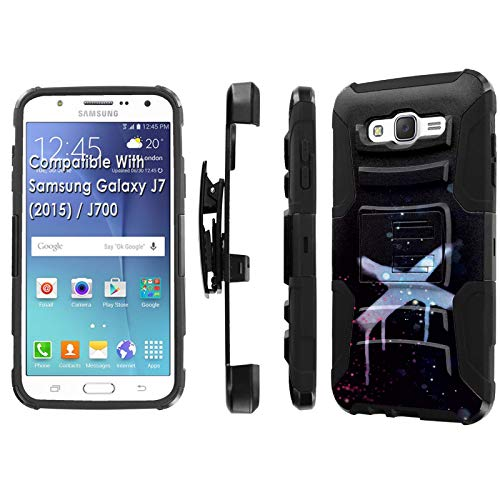 Samsung Galaxy J7 2015 / J700H / J700T Phone Cover Case by [TalkingCase],Black/Black Premium Dual Layer Armor Case, w/Holster & Kickstand, J7 2015,J700T [Sparkling Graffiti Dark] Print, Design in USA