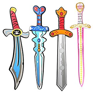 """Pack of 4 17"""" Assorted EVA Foam Swords Set Warrior Weapons Toy Pretend Playset for Kids Different Designs Including Ninja, Pirate, Warrior, and Viking(Set Two)"""