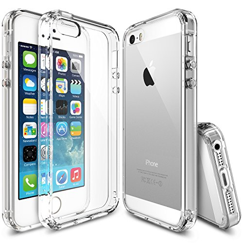 Hybrid Fusion Protector (iPhone SE / 5S / 5 Case, Ringke [FUSION Series] Brilliant Crystal Clear Hybrid Fortified PC Back Supple TPU Bumper w/ Screen Protector [Impact Resistant/Shock Absorption] For Apple iPhone SE - Clear)