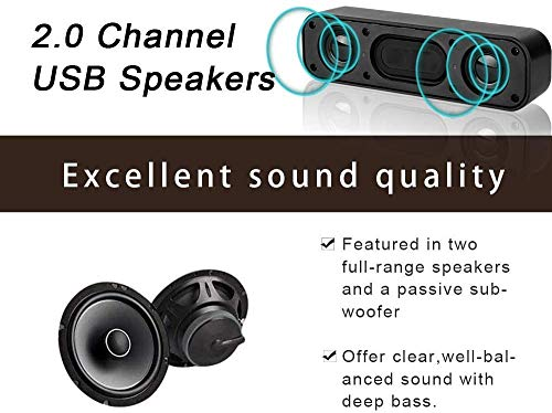 USB Computer Speakers, EASYOB Laptop Speaker with Stereo Sound, Wired USB Power, Portable Mini Sound Bar for Windows PCs, Desktop Computer, Laptops and Checkout Counter