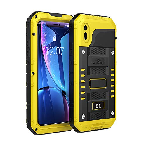 (iPhone XR Cases,Waterproof with Built-in Glass Screen Full Body Protective [Support Wireless Charging] Shockproof Drop Proof Hybrid Hard Cover Military Outdoor Sport for Apple iPhone XR (Yellow))