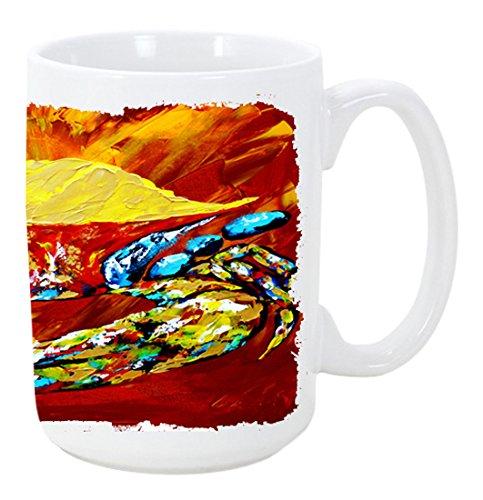 Carolines Treasures MW1113CM15 Crab Buster Brown Microwavable Ceramic Coffee Mug Multicolor 15 oz