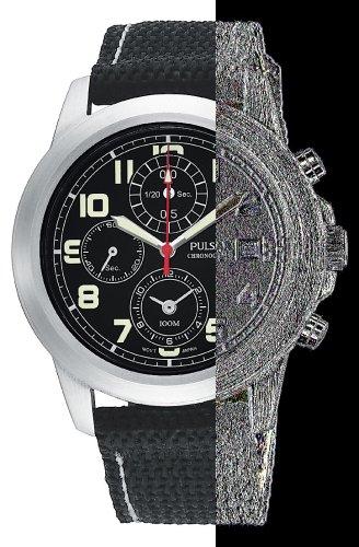 (Pulsar Men's PF8191 Chronograph Black Strap Watch)