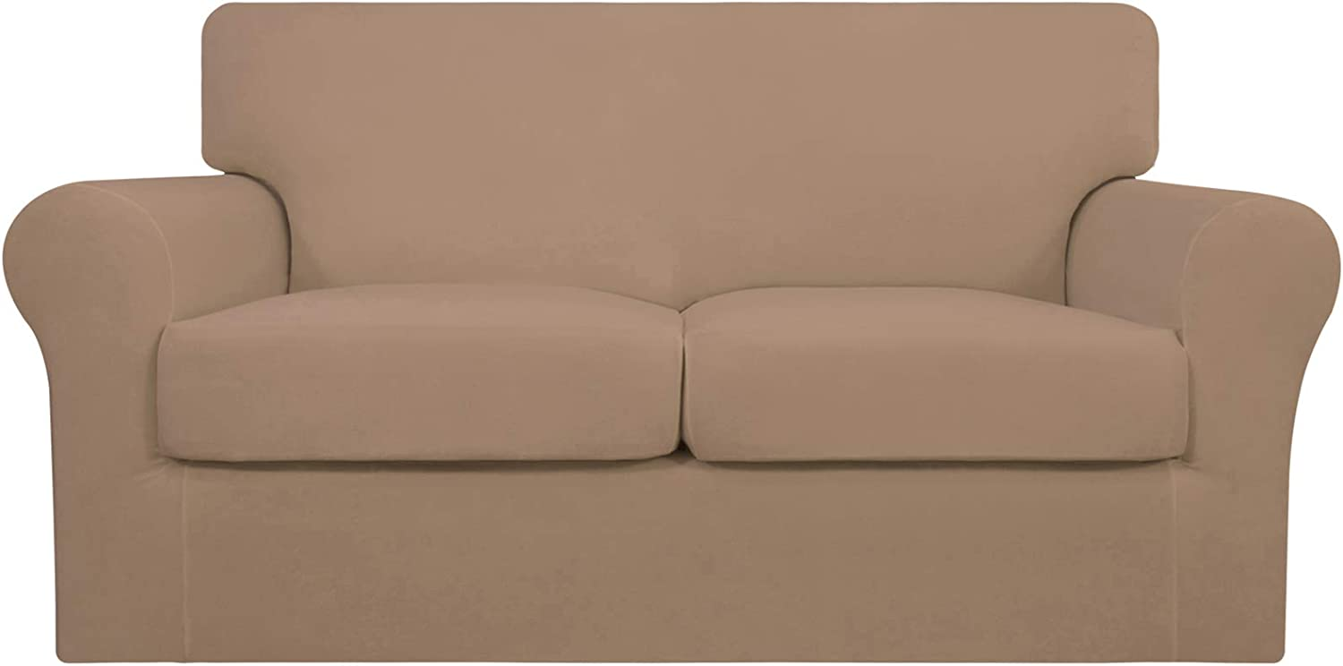 Easy-Going 2 Pieces Stretch Soft Couch Cover for Dogs - Washable Sofa Slipcover for 2 Separate Cushion Couch - Elastic Furniture Protector for Pets, Kids (Loveseat, Camel)