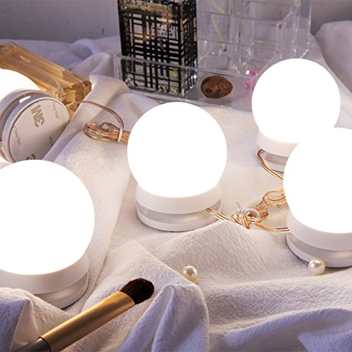 Chende LM Hollywood Style LED Kit with Dimmable Fixture Strip for Makeup Vanity Table Set in Dressing Room, Mirror Not Included (10 Light Bulbs), White by Chende (Image #6)