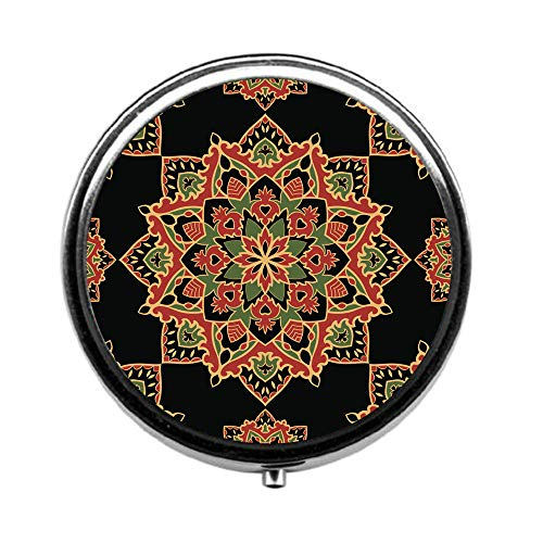 (Pill Box 3 Times a Day,Dark Green and Black Ethnic and Foliage Travel Pill Case Round Pill Box with Mini Makeup Mirror Diameter 4.5 cm)