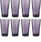 Circleware 44824 Plum Heavy Base Juice Drinking Glasses, Huge Set of 8 Home Kitchen Entertainment Ice Tea Beverage Cups Glassware for Water, Milk, Beer, Whiskey and Bar Decor Gift, 17 oz, Windowpane