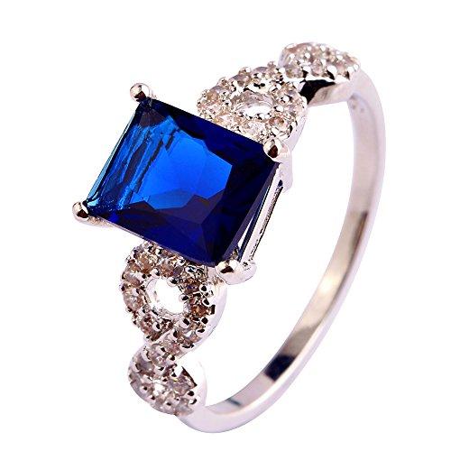 (Narica Womens Novelty Sapphire Quartz Princess Cut Puzzle Cocktail Ring)