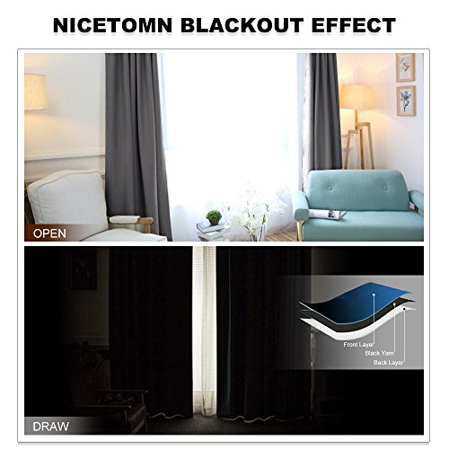 NICETOWN Bedroom Curtains Blackout Panels - (Grey/Gray Color) W42 x L45, Double Panels, Home Decor Noise Reducing & Light Blocking Window Treatment Drapes for Windows