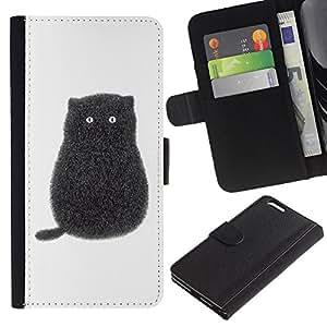 Planetar® Modelo colorido cuero carpeta tirón caso cubierta piel Holster Funda protección Para Apple (5.5 inches!!!) iPhone 6+ Plus ( Black Pen Art Minimalist Kitten White )