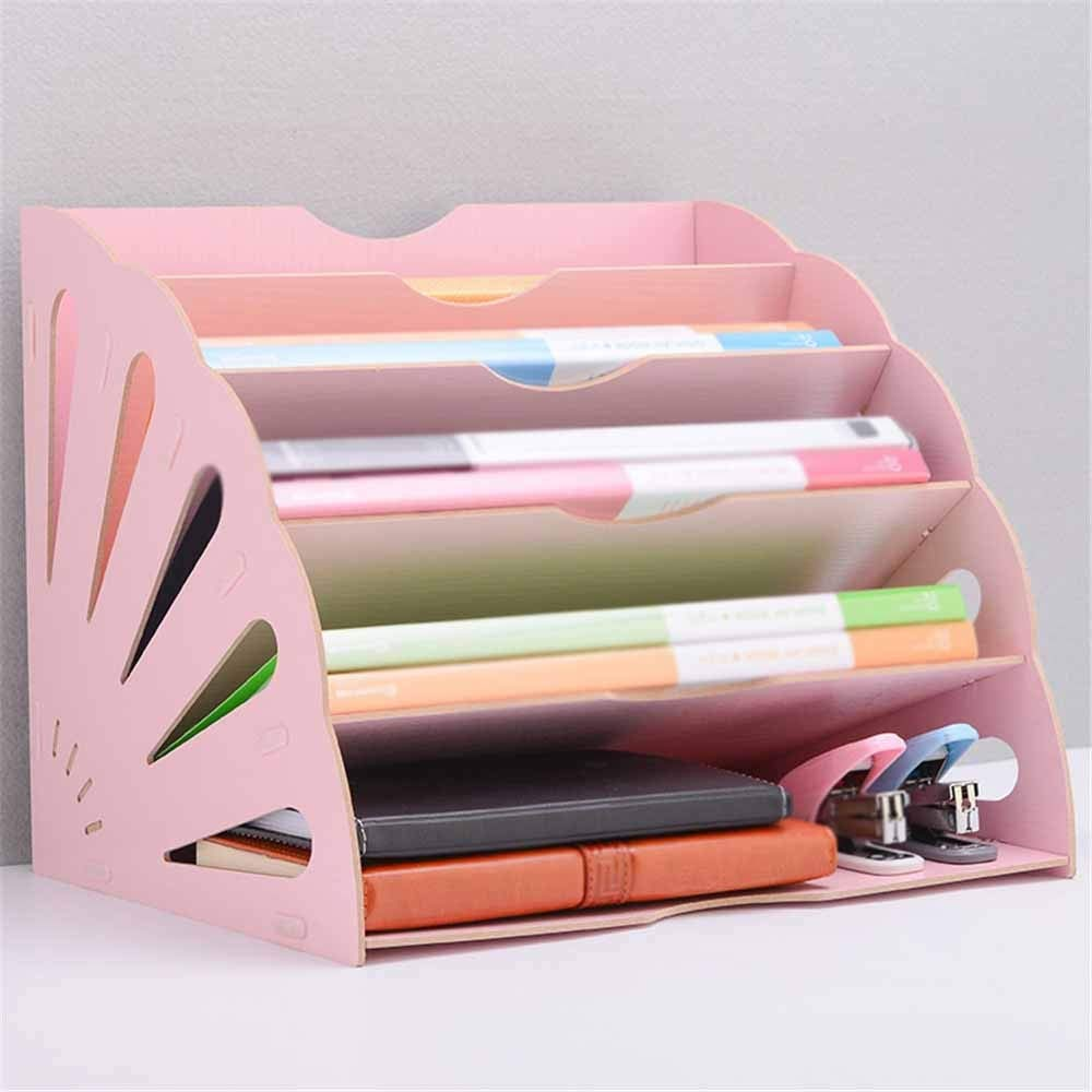 Iddefee File Holder Office Finishing Rack Basket File Rack Multi-Layer Creative A4 Information Frame Wooden Desktop File Storage Rack Curved Desktop File Holder (Color : Pink, Size : 28x28x34cm) by DERTHWER