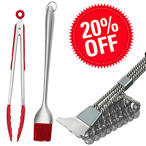 "Hokichen BBQ Grill Brush and Scraper Best Rated, Safe Barbecue Grill Cleaner Brushs, 18"" Best Stainless Steel Bristle Grill Brush Cleaning Tool – Tong and Basting Brush Bonus"