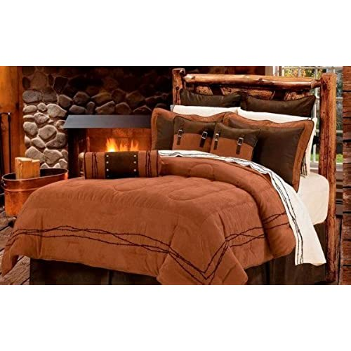 Western Rustic Tan Barbwire Bedding Set 7pc Super Queen
