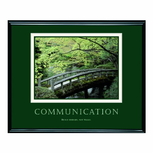 Framed Motivational Print, Communication Inches, Black