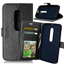 Moto G (3rd Gen) Case,Moto G3 Case,[Wallet Feature],YiLin [Kickstand] [Stand Feature] Premium PU Folio Wallet Leather Case for Motorola Moto G (3rd Gen) [Black]