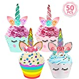 50pcs Unicorn Cupcake Toppers and Wrappers Set Cake Toppers Decoration for Kids Birthday Party Wedding by MIBOTE