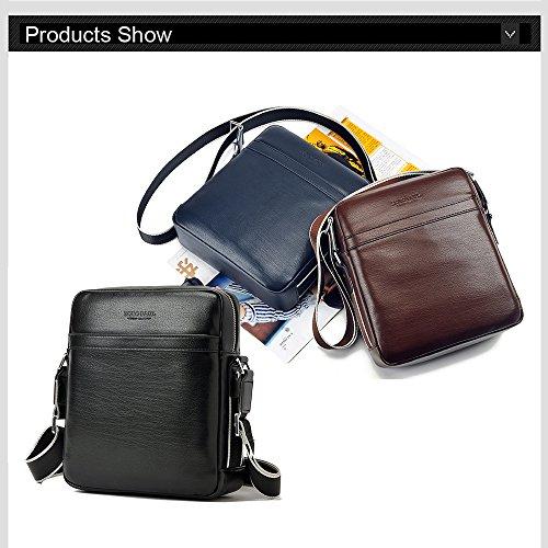 VIISHOW Bolso para hombre de cuerpo cruzado Bolso de viaje pequeño bolso de hombro Bolsa de mensajero de cuero Flapover adecuado para iPad, Mini iPad con cartera Negro