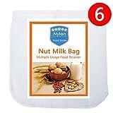 "6 Pack - Nut Milk Bag-(12""x12"") - iAesthete Reusable Food Grade Nylon Mesh Filter Multiple Usage Vegetable Fruit Juice Filter Cold Brew Coffee Filter Tea Filter"
