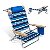 690GRAND Best Folding Beach Chair 5 Position Lay Flat Reclining with Extra Wide Seating Area Cup Holder and Storage Pouch Lightweight Aluminum Frame for Camping Hiking