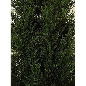 Artificial UV Rated Outdoor 5' Cedar Topiary Tree Bundled with Lg Rock Planter Cover, by Silk Tree Warehouse 2