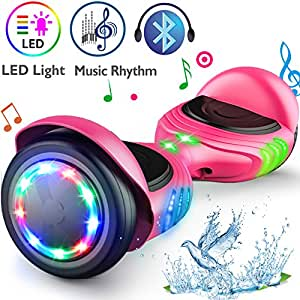 """TOMOLOO Hoverboard Bluetooth LED Lights Two-Wheel Self Balancing Scooter UL2272 Certified, 6.5"""" Wheel Electric Scooter Kids Adult (Pink) …"""