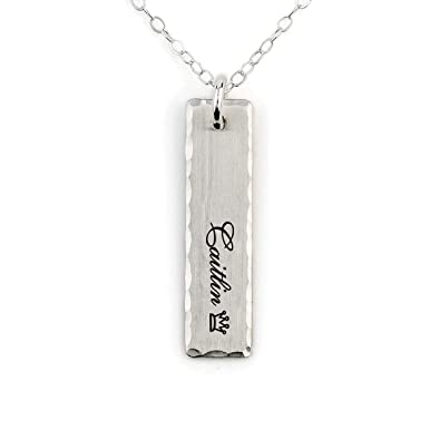 9db90651e8e9d MeMoShe Bar Necklace Personalized with Birthstone, Custom Engraved Name  Necklace Rectangular Charm Pendant for Mother