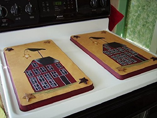 Primitive Country Decor Saltbox Crow Rusty Tin Stars Stainless Steel Stove Burner Cover Set of 2 for $<!--$69.85-->