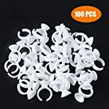 G2PLUS Disposable Plastic Nail Art Tattoo Glue Rings Holder Eyelash Extension Rings Adhesive Pigment Holders Finger Hand Beauty Tools (White-100 PCS)
