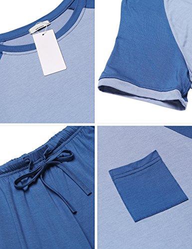 U XXL con Estivi S Blu Unibelle Maniche Donna corte Notte Pigiami Donna Pantaloni Ragazza a due Pigiama Camicia Collo pezzi da Vestaglia xg7wpqC
