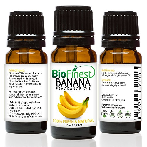 BioFinest Banana Fragrance Oil - 100% Pure & Natural - Fresh Home Scent - Air Refresher - Relaxing Aromatherapy - Skin and Hair Care - FREE E-Book (10ml) (Banana Apple Greens Essential)