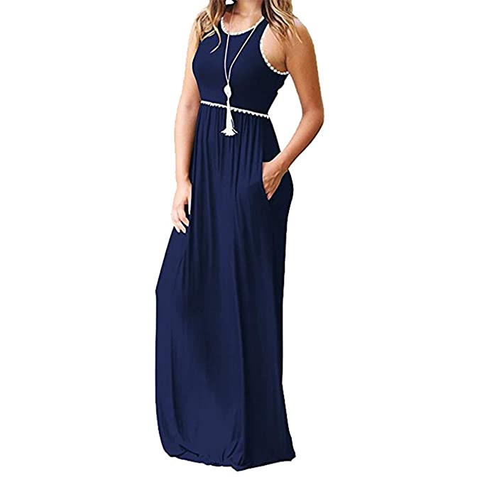37b95325a57d 2019 Vestido Largo Plisado, Maxi Vestidos Sin Mangas con Bolsillo De ...