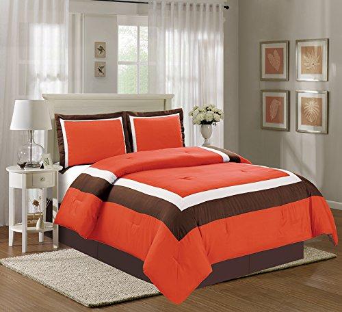 4 Piece KING Size ORANGE / BROWN / BEIGE Color Block MILAN Goose Down Alternative Comforter set 104