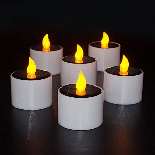Yzan-set of 6- Solar Power LED Electric Candles Yellow Flickering Nightlight for Garden Yard Camping Decor Wedding Christmas Outdoor Party by Yzan
