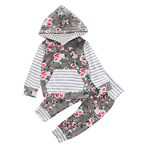 Sale Top Hats Cheap For (Clearance Sale! VEKDONE Baby Girls Long Sleeve Flowers Hoodie Tops and Pants Outfit with Kangaroo Pocket Headband (Light Gray,)