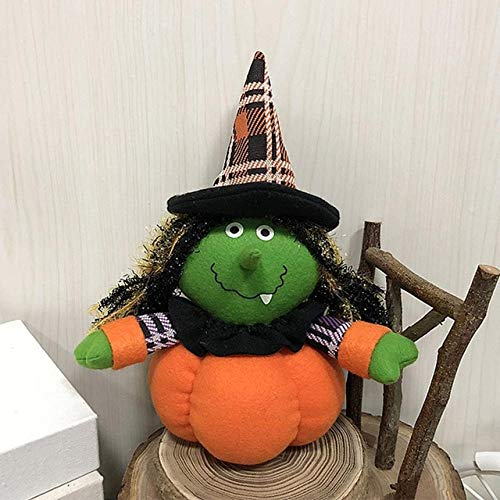 ZAMTAC Ornament Gifts Festival Mall Decoration Bar Halloween Plush Stuffed Pumpkin Shaped Dance Hotel Ghost Festival Dressing Supplies - (Color: Witch) -