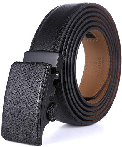 Marino Men's Genuine Leather Ratchet Dress Belt with Automatic Buckle, Enclosed in an Elegant Gift Box - Black Metal Buckle with Black Leather - Custom: Up to 44