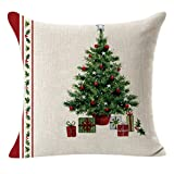 LOVELYIVA 45cm45cm Christmas Throw Flax Pillow Case Decorative Linen Square Cushion Pillow Cover (A)