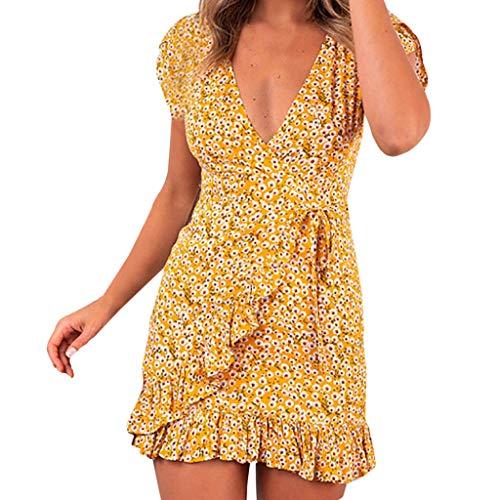 (Mlide Women's Summer Casual Dresses Short Sleeve V Neck Button Zip Mini Dress BohoPrinting Dress,Yellow XXL)