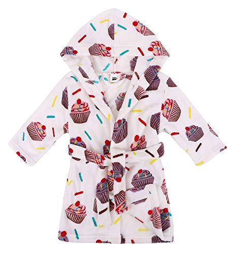 Verabella Baby Bath Robe Plush Super Soft Fleece Hooded Bathrobes Robe,White,S by Verabella