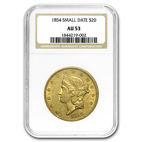 1854 $20 Liberty Gold Double Eagle AU-53 NGC (Small Date) G$20 AU-53 NGC