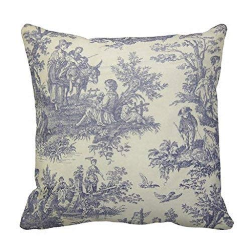 Jbralid French Vintage Toile Pillow Cover Cotton Linen Indoor Decor Throw Pillow Case 26x26 in