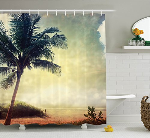 Ambesonne Hawaiian Decorations Collection, Natural Beach Sunset with Palm Silhouettes Shrubs Sea Clouds and Sand Landscape, Polyester Fabric Bathroom Shower Curtain, 75 Inches Long, Teal - Silhouette Woman Sunset