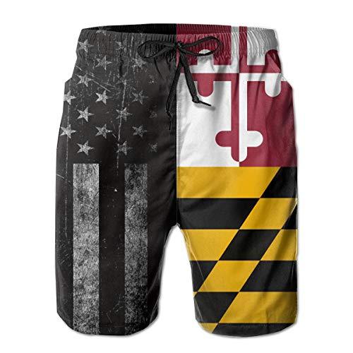 STDKNSK9 Men's Flag of Maryland Boardshorts Swimming Shorts White (Maryland Swim Trunks)