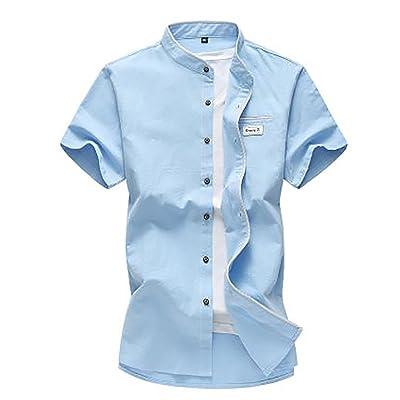 (habille)メンズ スタンドカラー 綿 半袖 シャツ ライン 大きいサイズ 夏服 おまけ付(4カラー)